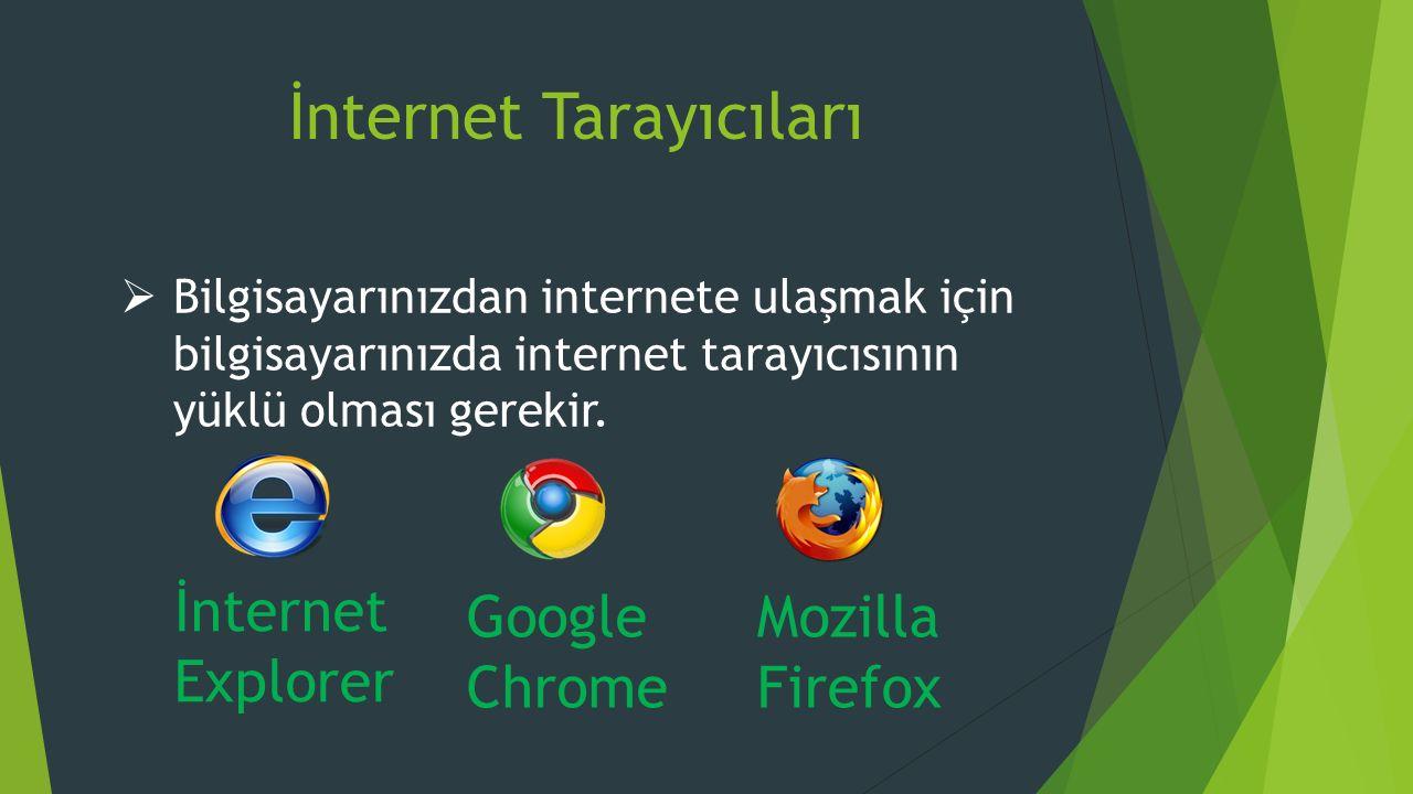 İnternet Tarayıcıları  Bilgisayarınızdan internete ulaşmak için bilgisayarınızda internet tarayıcısının yüklü olması gerekir.