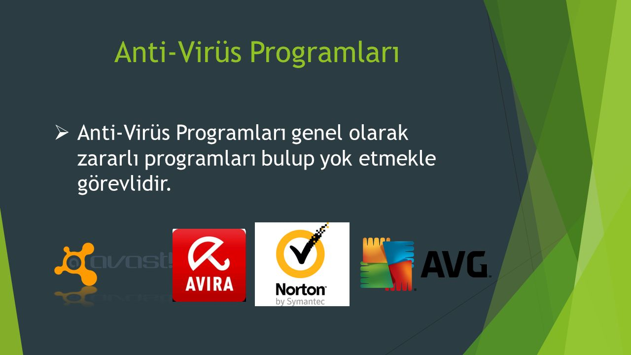 Anti-Virüs Programları  Anti-Virüs Programları genel olarak zararlı programları bulup yok etmekle görevlidir.