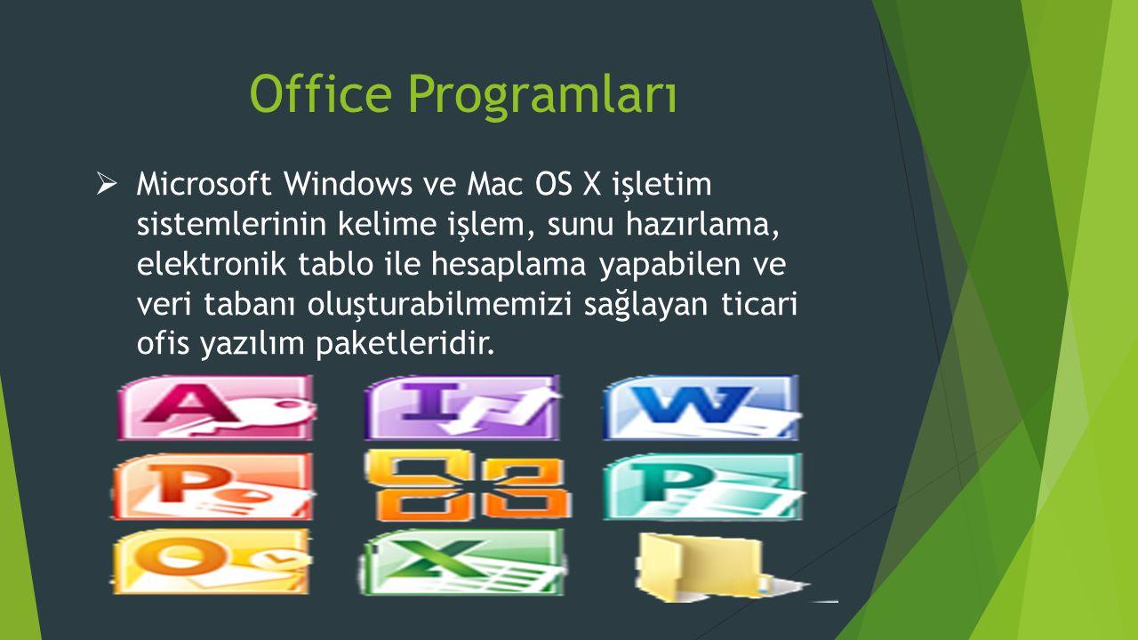 Office Programları  Microsoft Windows ve Mac OS X işletim sistemlerinin kelime işlem, sunu hazırlama, elektronik tablo ile hesaplama yapabilen ve veri tabanı oluşturabilmemizi sağlayan ticari ofis yazılım paketleridir.