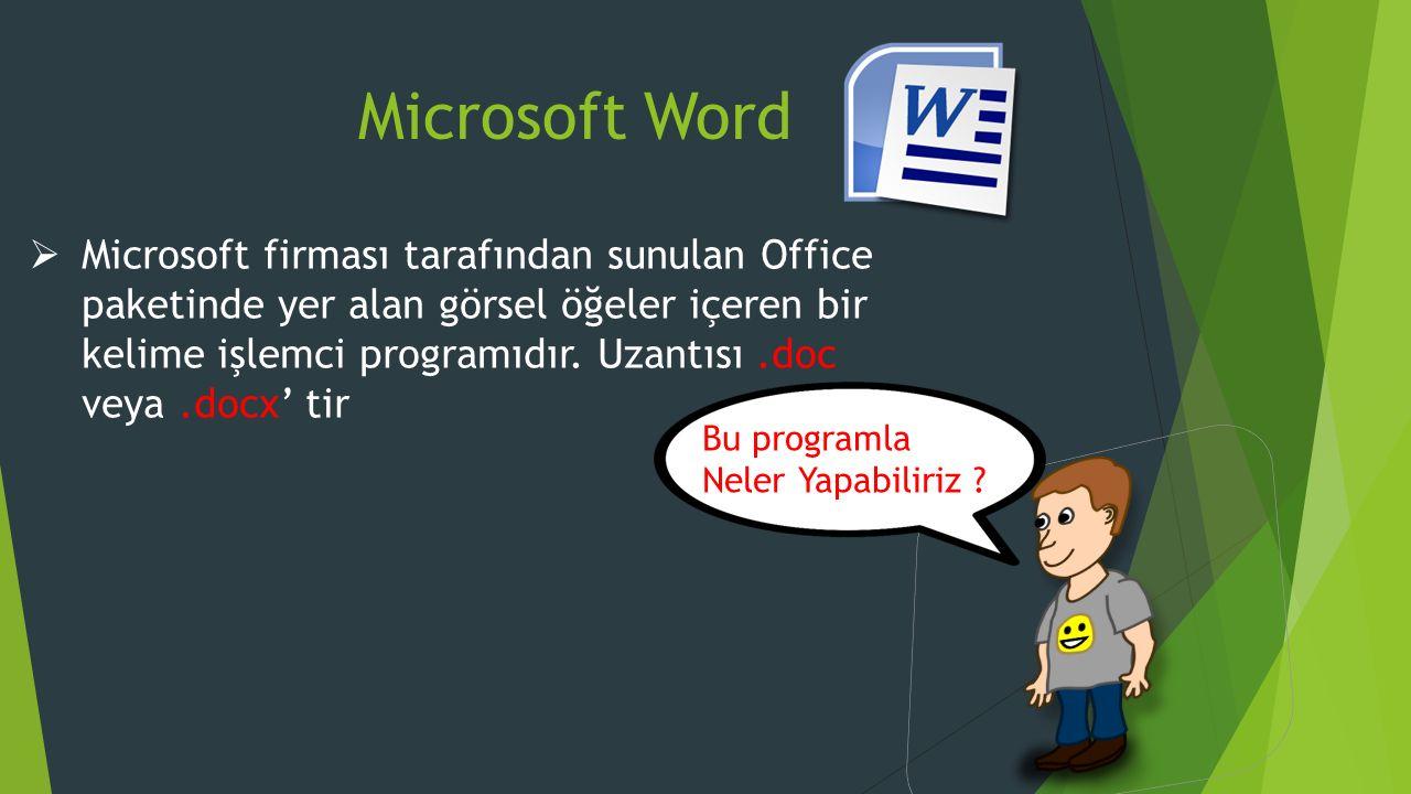 Microsoft Word  Microsoft firması tarafından sunulan Office paketinde yer alan görsel öğeler içeren bir kelime işlemci programıdır.