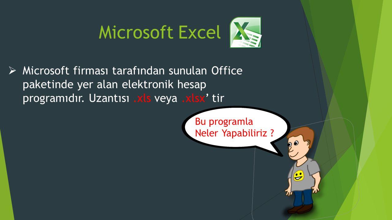 Microsoft Excel  Microsoft firması tarafından sunulan Office paketinde yer alan elektronik hesap programıdır.