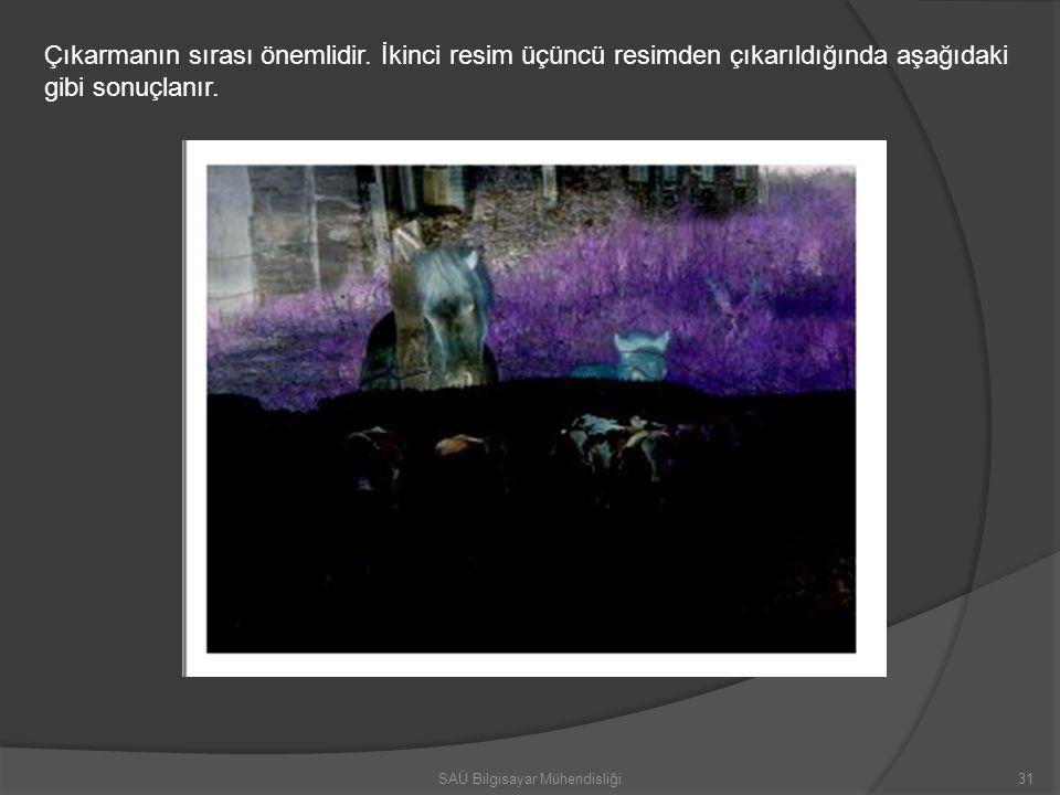 Çıkarmanın sırası önemlidir. İkinci resim üçüncü resimden çıkarıldığında aşağıdaki gibi sonuçlanır. 31SAÜ Bilgisayar Mühendisliği