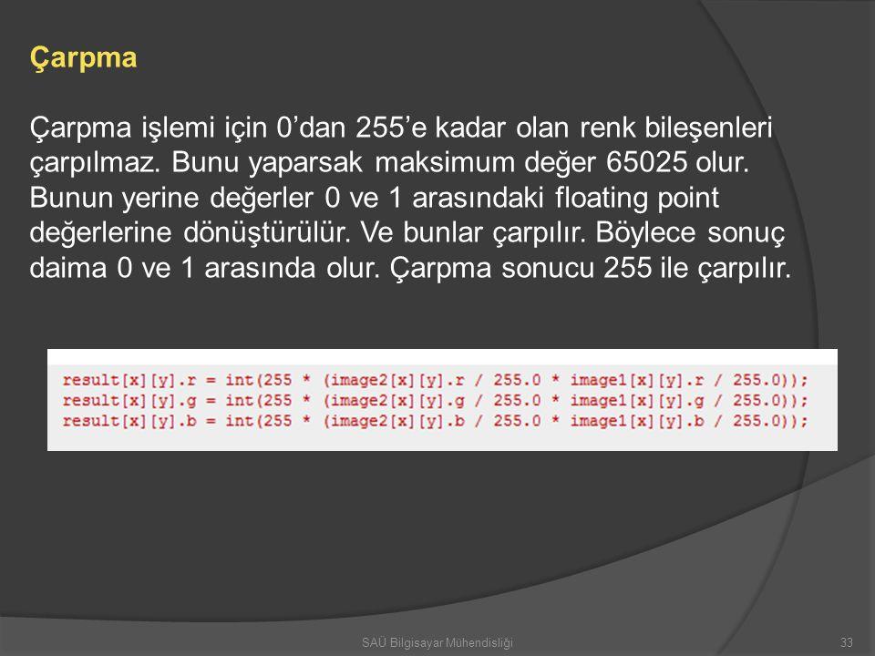 Çarpma Çarpma işlemi için 0'dan 255'e kadar olan renk bileşenleri çarpılmaz. Bunu yaparsak maksimum değer 65025 olur. Bunun yerine değerler 0 ve 1 ara
