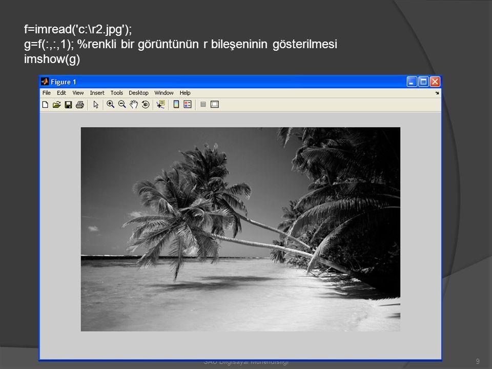 f=imread('c:\r2.jpg'); g=f(:,:,1); %renkli bir görüntünün r bileşeninin gösterilmesi imshow(g) 9SAÜ Bilgisayar Mühendisliği
