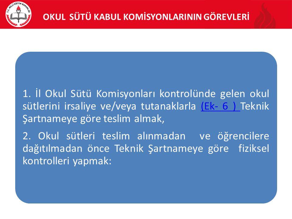 OKUL SÜTÜ KABUL KOMİSYONLARININ GÖREVLERİ 1.