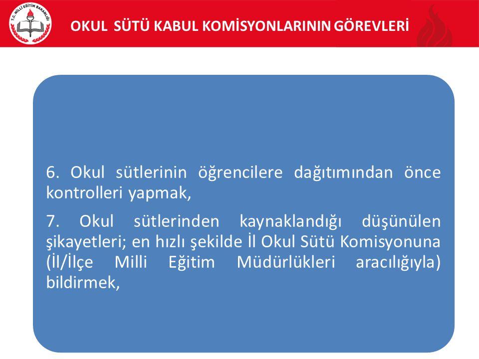 OKUL SÜTÜ KABUL KOMİSYONLARININ GÖREVLERİ 6.