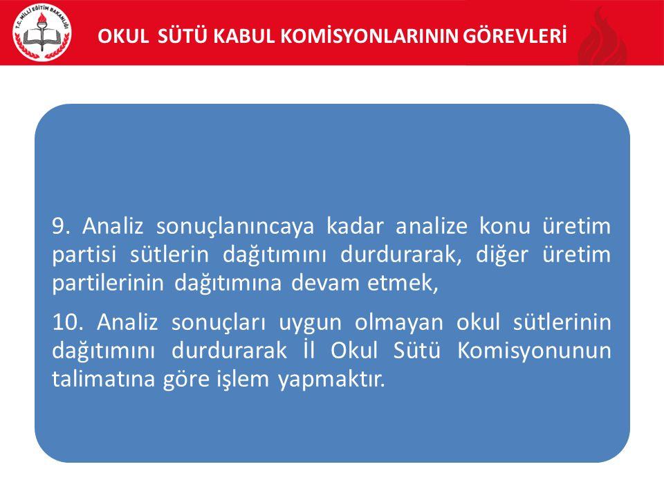OKUL SÜTÜ KABUL KOMİSYONLARININ GÖREVLERİ 9.