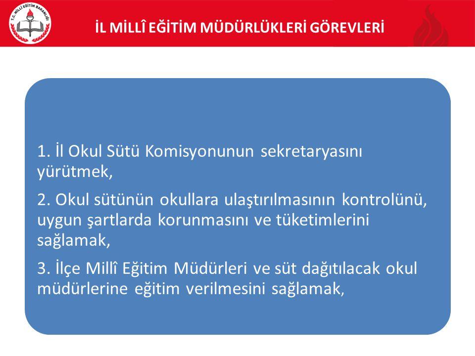İL MİLLÎ EĞİTİM MÜDÜRLÜKLERİ GÖREVLERİ 1. İl Okul Sütü Komisyonunun sekretaryasını yürütmek, 2.