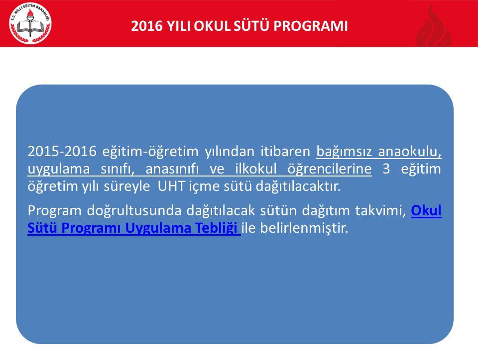 2016 YILI OKUL SÜTÜ PROGRAMI 2015-2016 eğitim-öğretim yılından itibaren bağımsız anaokulu, uygulama sınıfı, anasınıfı ve ilkokul öğrencilerine 3 eğitim öğretim yılı süreyle UHT içme sütü dağıtılacaktır.