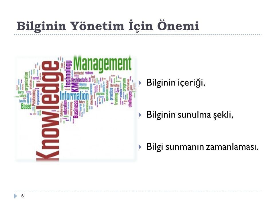 Bilginin Yönetim İçin Önemi  Bilginin içeri ğ i,  Bilginin sunulma şekli,  Bilgi sunmanın zamanlaması.