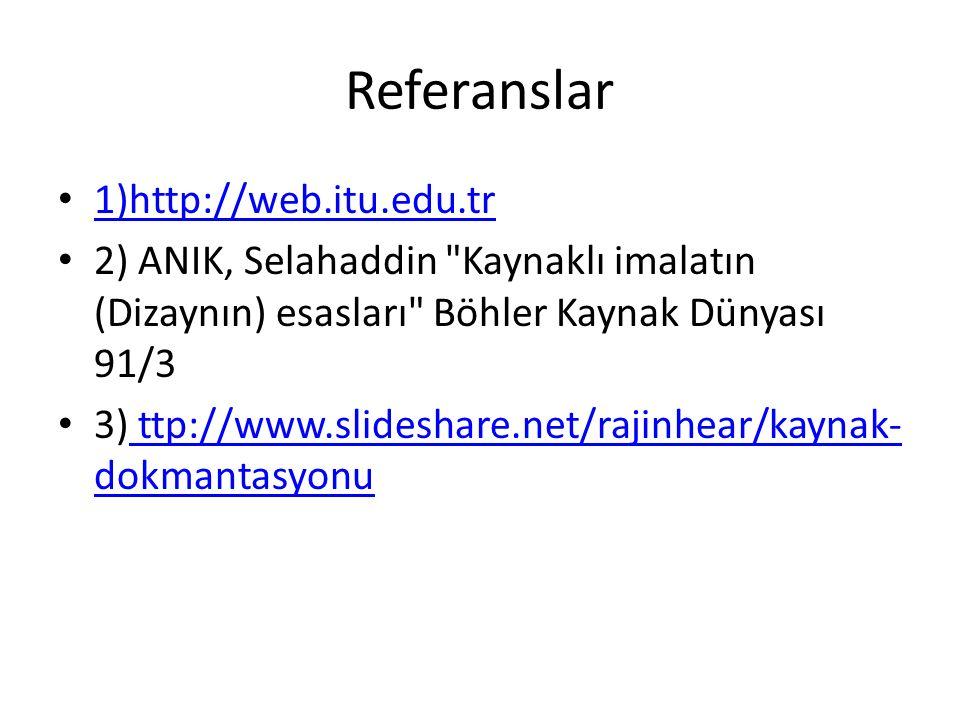 Referanslar 1)http://web.itu.edu.tr 2) ANIK, Selahaddin