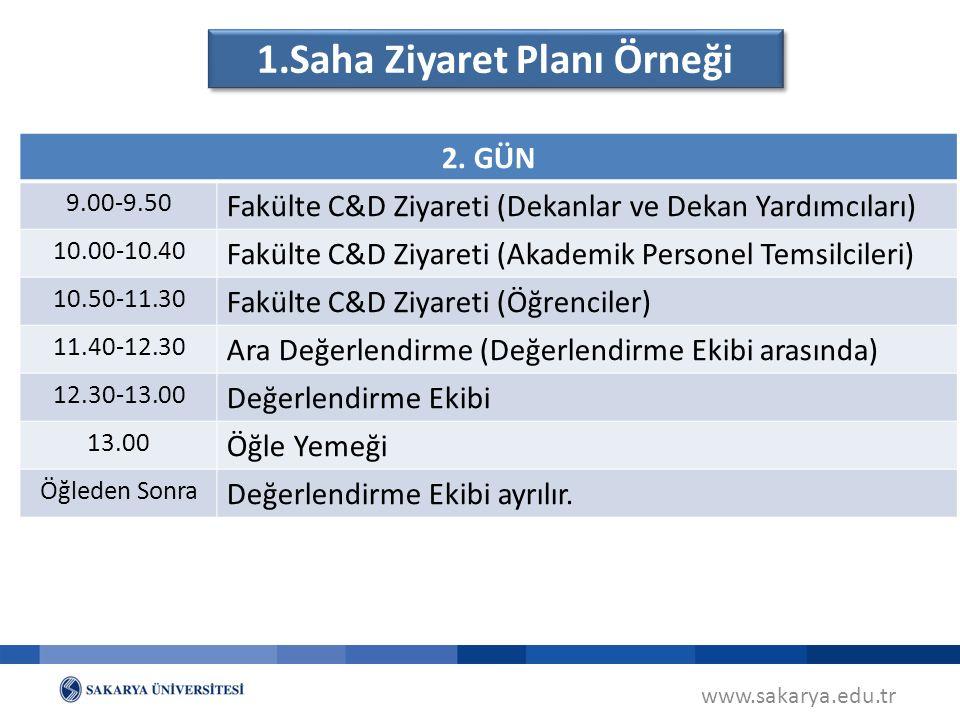 www.sakarya.edu.tr 1.Saha Ziyaret Planı Örneği 2.