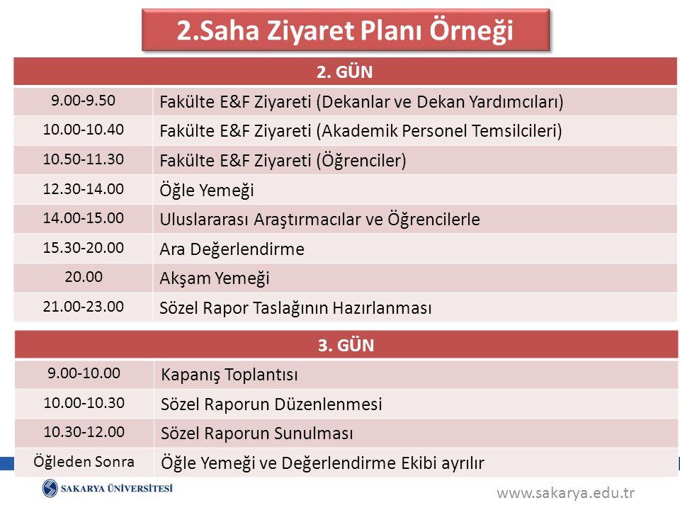 www.sakarya.edu.tr 2.Saha Ziyaret Planı Örneği 2.
