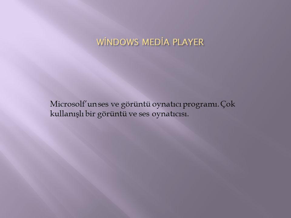 W İ NDOWS MED İ A PLAYER Microsolf'un ses ve görüntü oynatıcı programı. Çok kullanışlı bir görüntü ve ses oynatıcısı.
