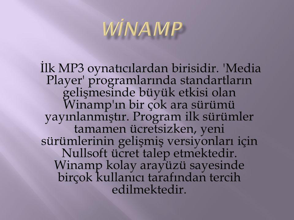 İlk MP3 oynatıcılardan birisidir. 'Media Player' programlarında standartların gelişmesinde büyük etkisi olan Winamp'ın bir çok ara sürümü yayınlanmışt