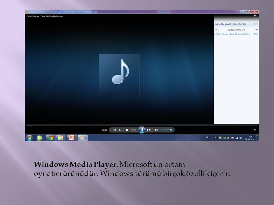 Windows Media Player, Microsoft un ortam oynatıcı ürünüdür. Windows sürümü birçok özellik içerir: