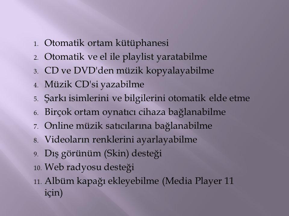 1. Otomatik ortam kütüphanesi 2. Otomatik ve el ile playlist yaratabilme 3. CD ve DVD'den müzik kopyalayabilme 4. Müzik CD'si yazabilme 5. Şarkı isiml