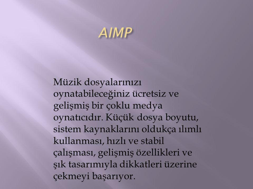 AIMP Müzik dosyalarınızı oynatabileceğiniz ücretsiz ve gelişmiş bir çoklu medya oynatıcıdır. Küçük dosya boyutu, sistem kaynaklarını oldukça ılımlı ku