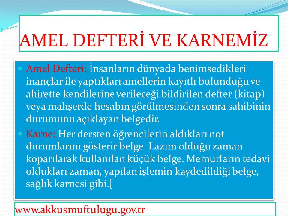 Kur'an'da Amel Defteri Kur'an'da, kitap ve suhuf adıyla zikredilen amel defterine kitabu'l-a'mal, sahifetu'l-a'mal da denir.