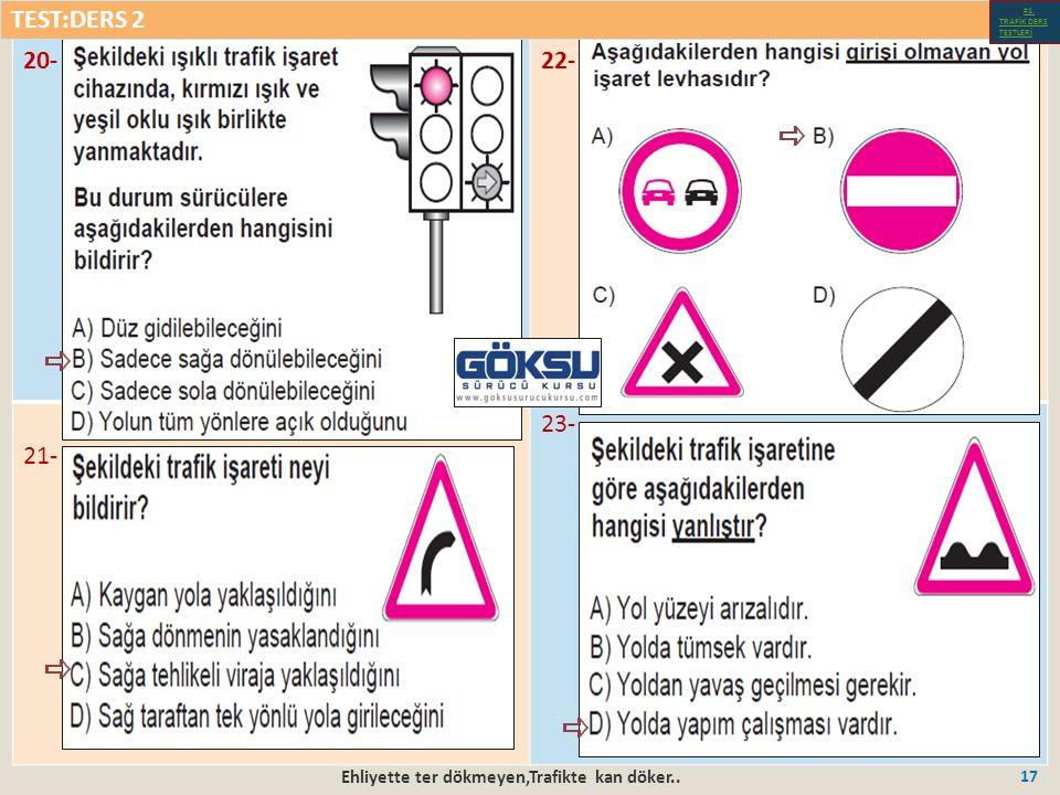 Ehliyette ter dökmeyen,Trafikte kan döker.. 17 20-22- 21- 23- TEST:DERS 2 Test-1-#1.
