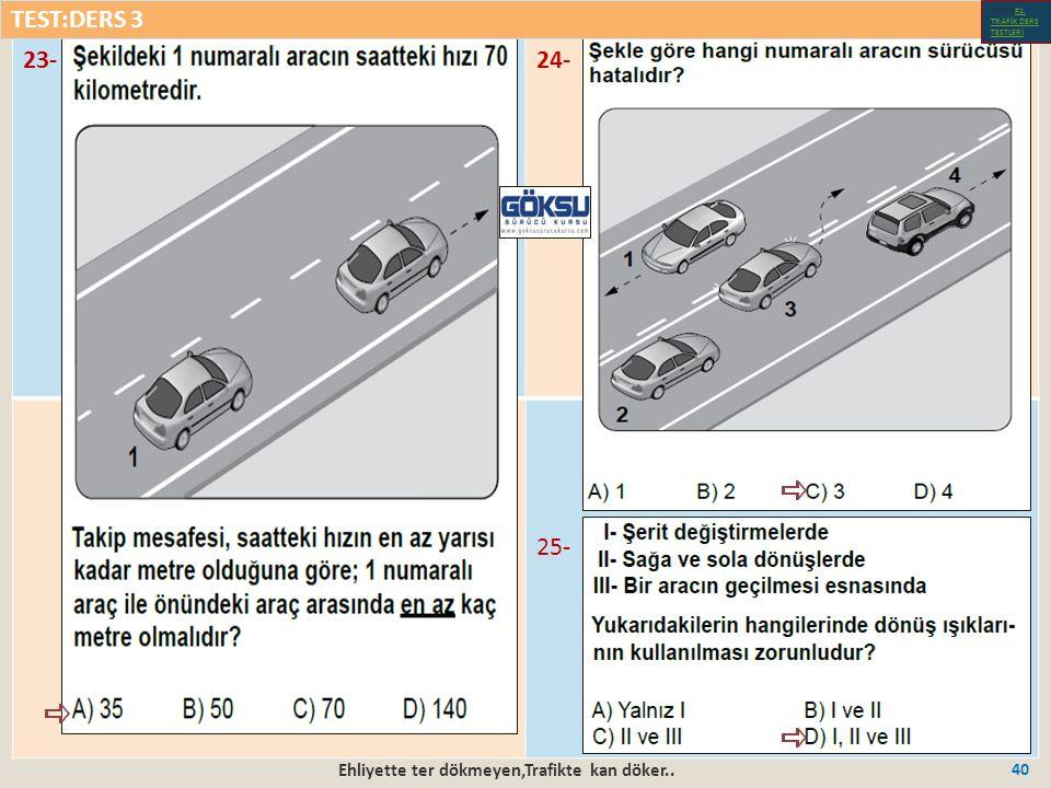 Ehliyette ter dökmeyen,Trafikte kan döker.. 40 23-24- 25- TEST:DERS 3 Test-1-#1.