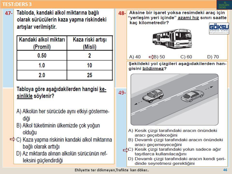 Ehliyette ter dökmeyen,Trafikte kan döker.. 46 47-48- 49- TEST:DERS 3 Test-1-#1.