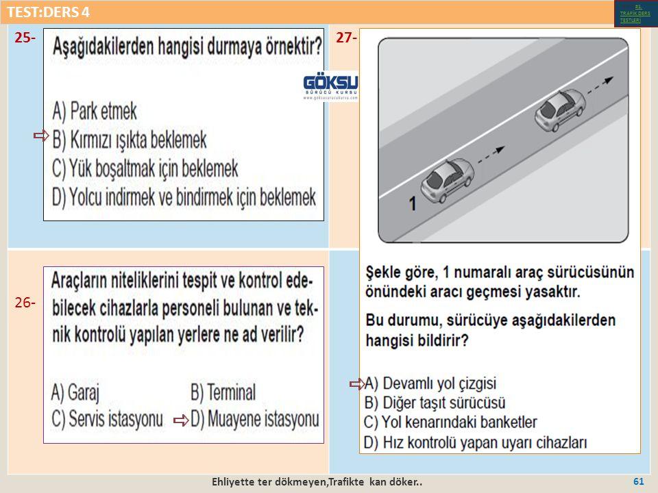Ehliyette ter dökmeyen,Trafikte kan döker.. 61 25-27- 26- TEST:DERS 4 Test-1-#1.
