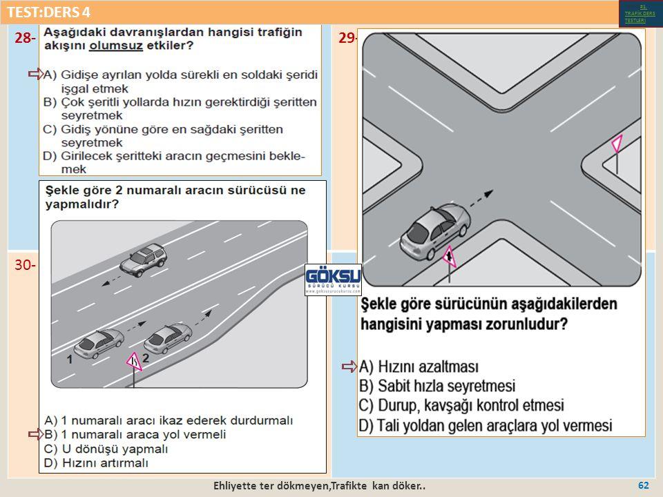 Ehliyette ter dökmeyen,Trafikte kan döker.. 62 28-29- 30- TEST:DERS 4 Test-1-#1.