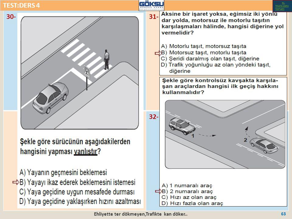 Ehliyette ter dökmeyen,Trafikte kan döker.. 63 30-31- 32- TEST:DERS 4 Test-1-#1.