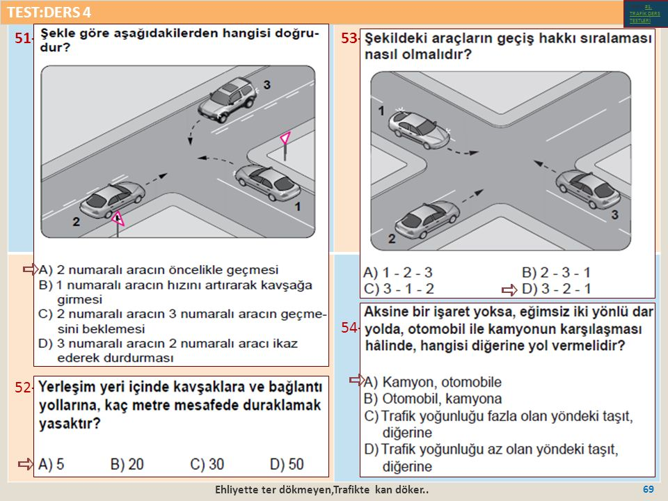 Ehliyette ter dökmeyen,Trafikte kan döker.. 69 51-53- 52- 54- TEST:DERS 4 Test-1-#1.