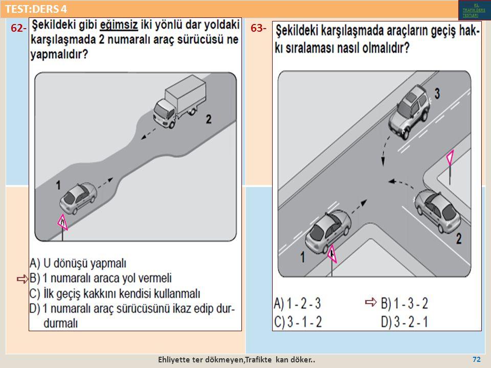 Ehliyette ter dökmeyen,Trafikte kan döker.. 72 62-63- TEST:DERS 4 Test-1-#1.