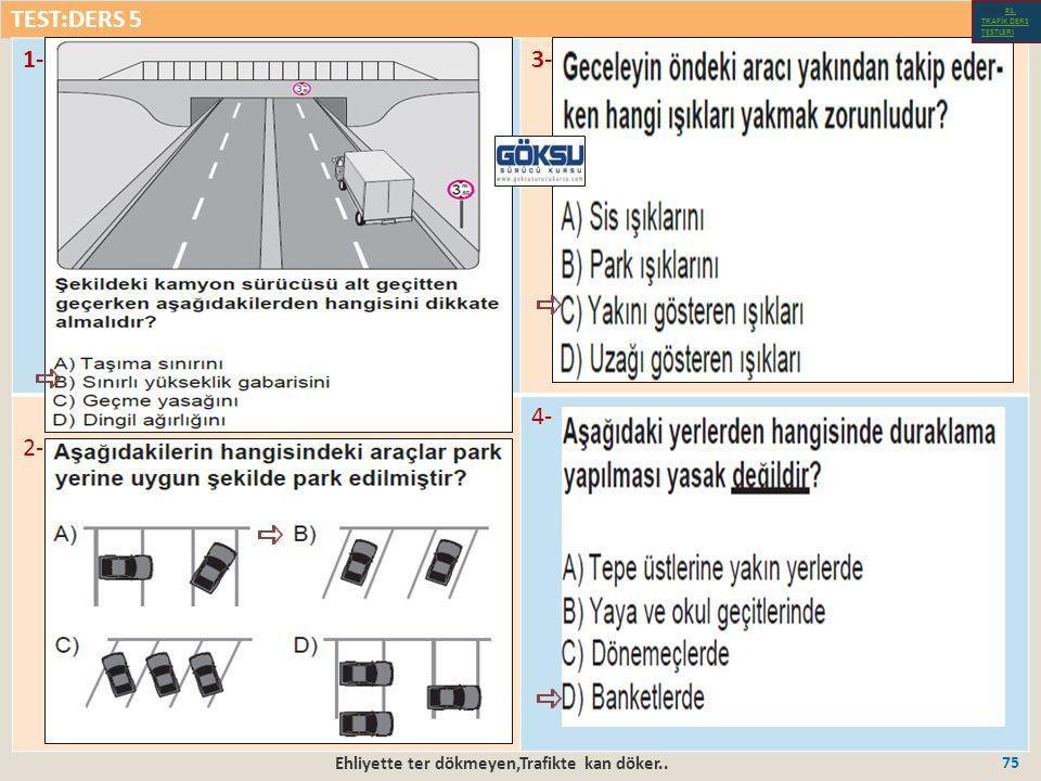 TEST:DERS 5 Ehliyette ter dökmeyen,Trafikte kan döker..