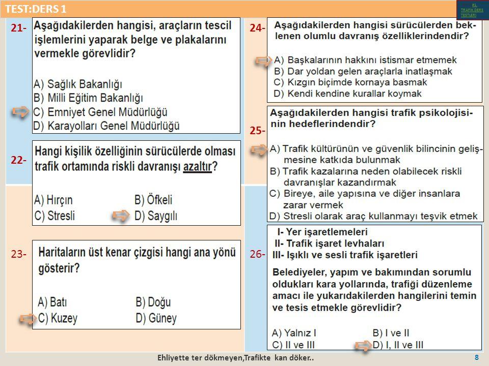 Ehliyette ter dökmeyen,Trafikte kan döker..59 16-18- 17-19- TEST:DERS 4 Test-1-#1.