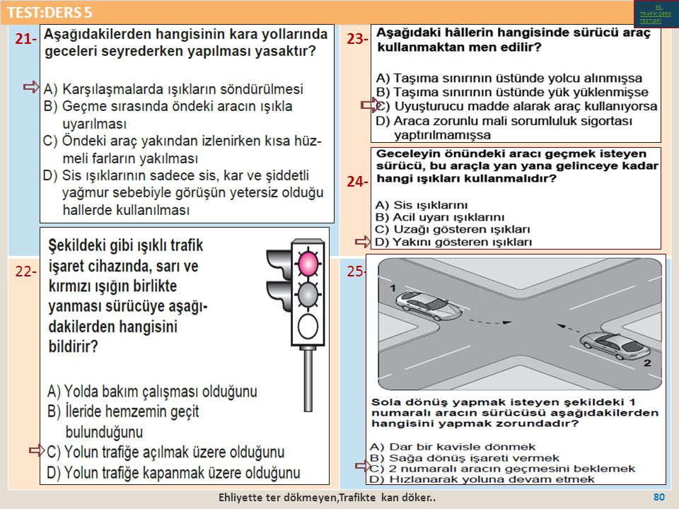 Ehliyette ter dökmeyen,Trafikte kan döker.. 80 21-23- 24- 22-25- TEST:DERS 5 Test-1-#1.