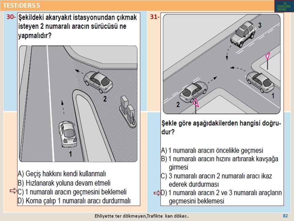 Ehliyette ter dökmeyen,Trafikte kan döker.. 82 30-31- TEST:DERS 5 Test-1-#1.