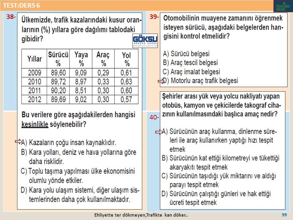 Ehliyette ter dökmeyen,Trafikte kan döker.. 99 38-39- 40- TEST:DERS 6 Test-1-#1.