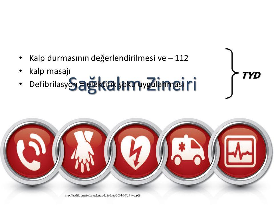 Sağkalım Zinciri Kalp durmasının değerlendirilmesi ve – 112 kalp masajı Defibrilasyon = elektirik şoku uygulanması TYD http://aciltip.medicine.ankara.