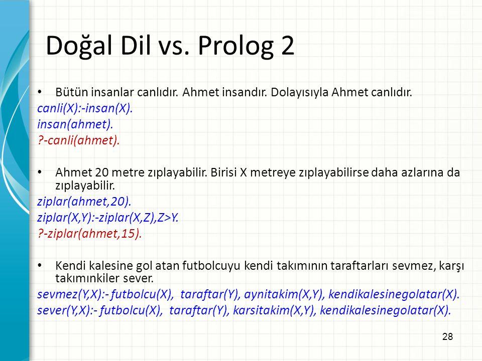 28 Doğal Dil vs. Prolog 2 Bütün insanlar canlıdır.