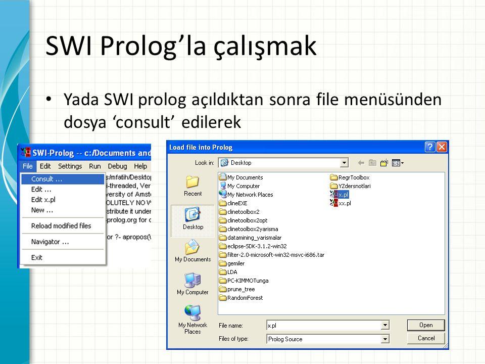 SWI Prolog'la çalışmak Yada SWI prolog açıldıktan sonra file menüsünden dosya 'consult' edilerek
