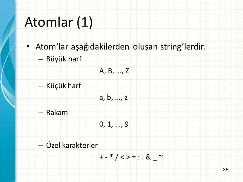 35 Atomlar (1) Atom'lar aşağıdakilerden oluşan string'lerdir.