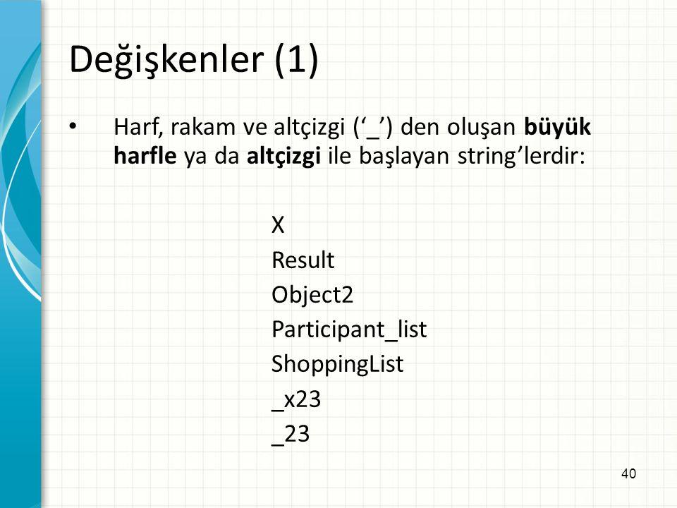 40 Değişkenler (1) Harf, rakam ve altçizgi ('_') den oluşan büyük harfle ya da altçizgi ile başlayan string'lerdir: X Result Object2 Participant_list ShoppingList _x23 _23