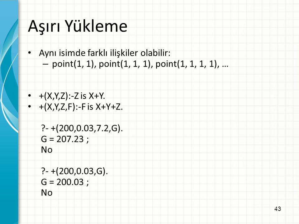 43 Aşırı Yükleme Aynı isimde farklı ilişkiler olabilir: – point(1, 1), point(1, 1, 1), point(1, 1, 1, 1), … +(X,Y,Z):-Z is X+Y.