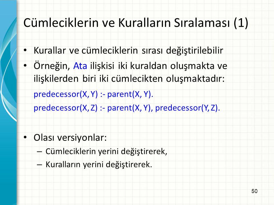 50 Cümleciklerin ve Kuralların Sıralaması (1) Kurallar ve cümleciklerin sırası değiştirilebilir Örneğin, Ata ilişkisi iki kuraldan oluşmakta ve ilişkilerden biri iki cümlecikten oluşmaktadır: predecessor(X, Y) :- parent(X, Y).