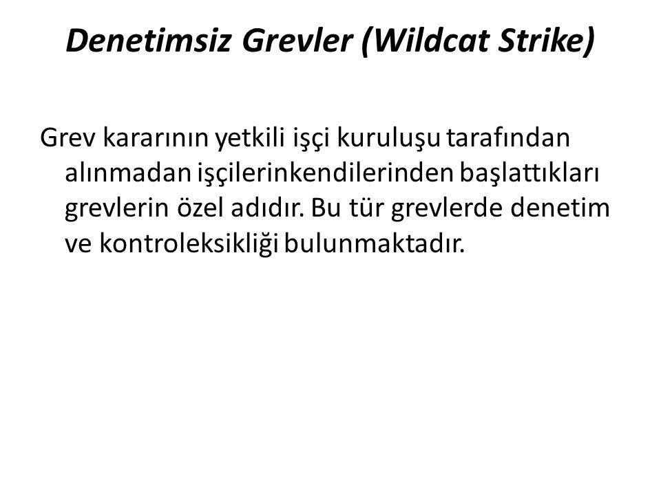 Denetimsiz Grevler (Wildcat Strike) Grev kararının yetkili işçi kuruluşu tarafından alınmadan işçilerinkendilerinden başlattıkları grevlerin özel adıdır.