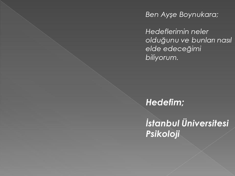 Ben Ayşe Boynukara; Hedeflerimin neler olduğunu ve bunları nasıl elde edeceğimi biliyorum.