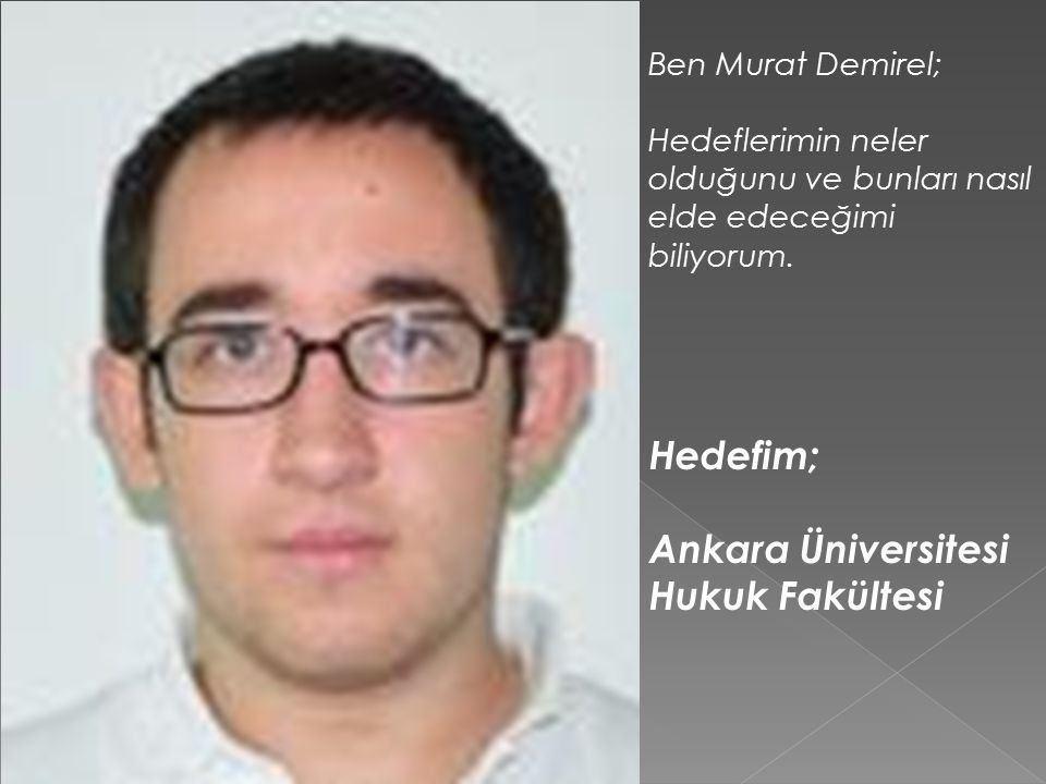 Ben Murat Demirel; Hedeflerimin neler olduğunu ve bunları nasıl elde edeceğimi biliyorum.
