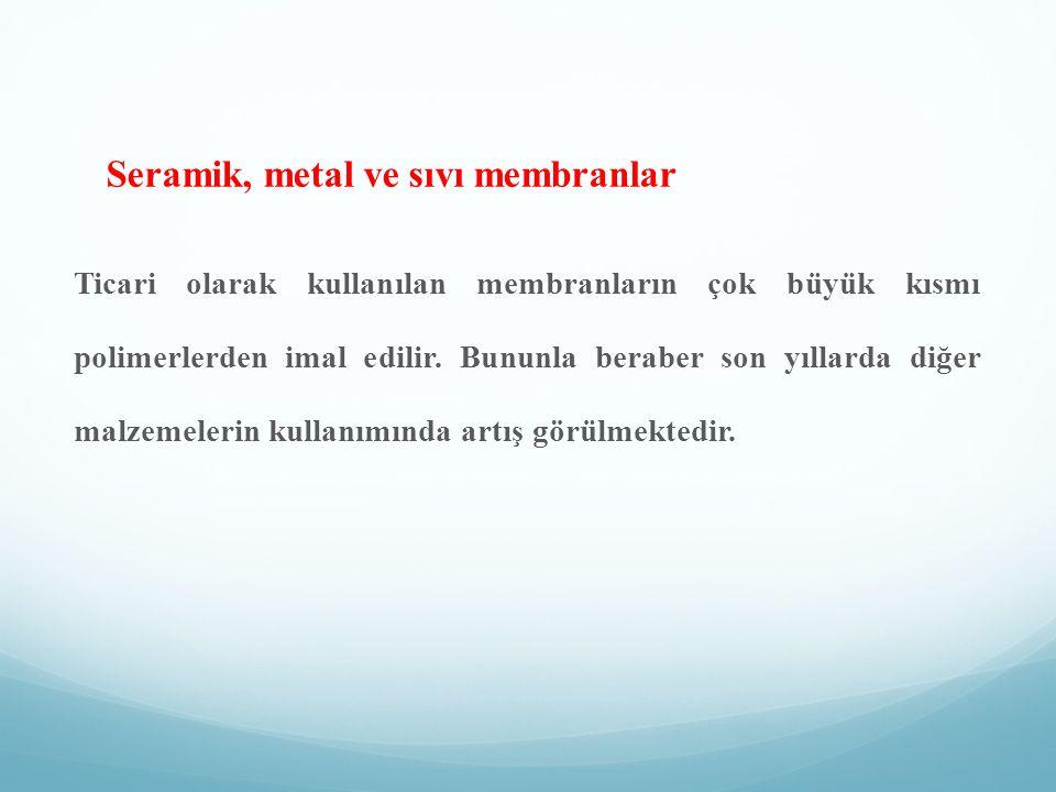 Seramik, metal ve sıvı membranlar Ticari olarak kullanılan membranların çok büyük kısmı polimerlerden imal edilir. Bununla beraber son yıllarda diğer