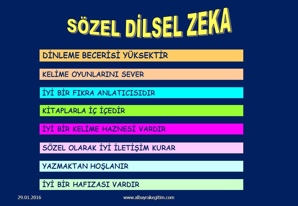 201 Çoklu ZEKA ALANLARI www.albayrakegitim.com29.01.2016