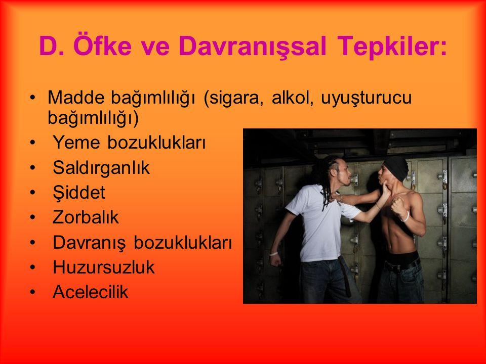 D. Öfke ve Davranışsal Tepkiler: Madde bağımlılığı (sigara, alkol, uyuşturucu bağımlılığı) Yeme bozuklukları Saldırganlık Şiddet Zorbalık Davranış boz