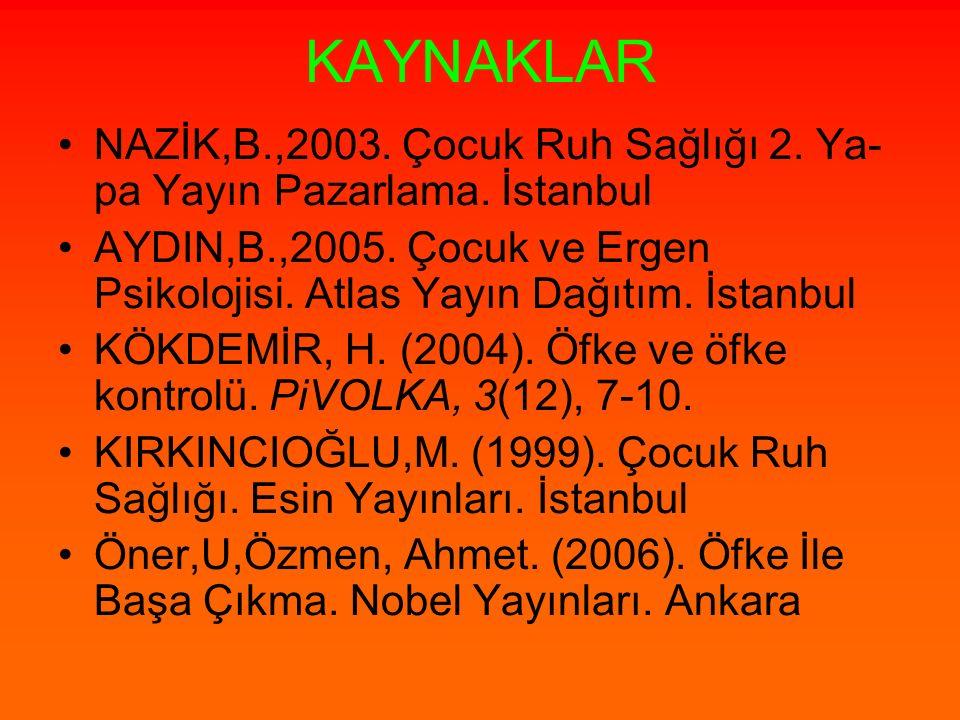 KAYNAKLAR NAZİK,B.,2003. Çocuk Ruh Sağlığı 2. Ya- pa Yayın Pazarlama. İstanbul AYDIN,B.,2005. Çocuk ve Ergen Psikolojisi. Atlas Yayın Dağıtım. İstanbu
